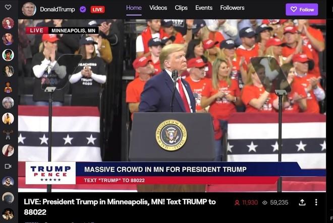 Twitch sospende l'account della campagna del Presidente Trump